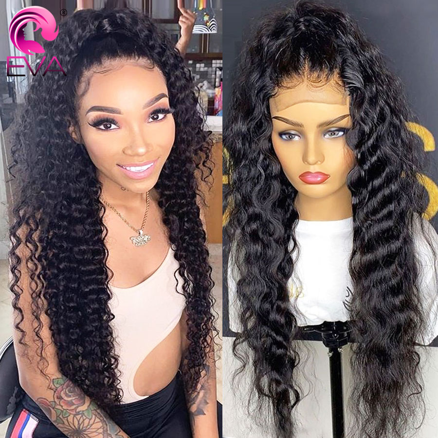 Eva Human Hair Wigs For Women Glueless Lace Front Human Hair Wigs Pre Plucked Brazilian Loose Deep Wave Frontal Wig Remy Hair