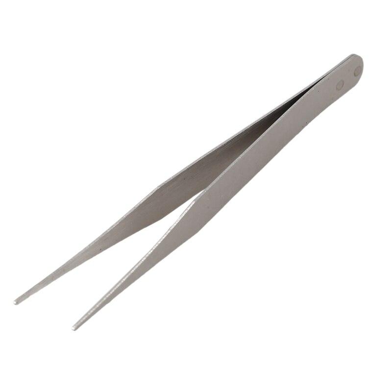Fine Point Silver Tone Pointy Straight Tweezers 4 1/2