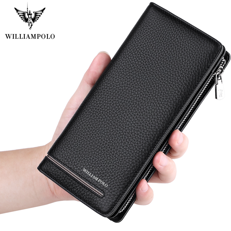 WilliamPOLO Top Brand Men Wallets MenLong Clutch Wallet Card Holder Handbag Genuine Leather Business Organizer Phone Purse Hot