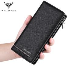 Williampolo marca superior homens carteiras menlong embreagem carteira titular do cartão bolsa de negócios couro genuíno organizador telefone bolsa quente