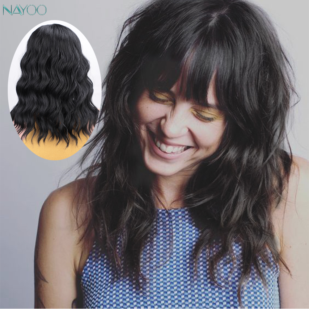 Short Natural Black Curly Women's Wigs Synthetic Loose Wavy Hair For Women Wig With Bangs For African American Cosplay Party Wig