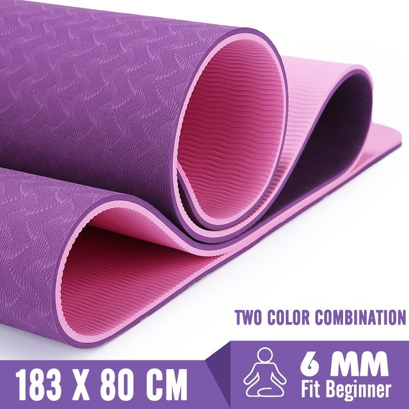 6MM Big Yoga Mats Major TPE Non-slip Pilates Exercise Mat 183X80CM Gymnastics Dance Pad For Beginner Plus Size Fitness Tapete