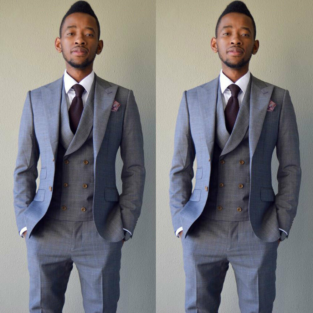 Grey Double Breasted Men Suit Slim Fit 3 Piece Tuxedo Custom Prom Groom Suits