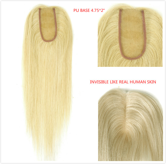 Neitsi 14 Inch 12cm * 5cm Virgin Cuticle Remy Human Hair Toppers Wig 100% Straight Real Hair Pieces PU Base Toupee For Women