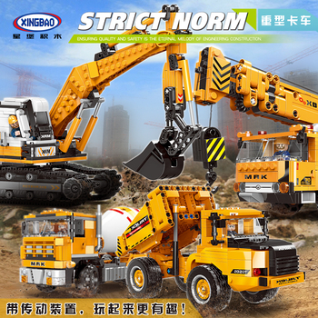 XingBao MOC Lepined Technic series The Heavy Duty Truck Model Kit Building Blocks Bricks Educational TOYS for children DIY Gifts xingbao technic new military series 06033 the uk challenger2 main battle tank model blocks bricks toys figure christmas gifts