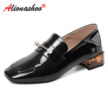 Boat Shoes Woman Ladies Loafers for Metal Decoration Non-Slip 34-39 Soft New Patent