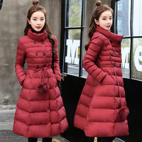 Women Winter Jacket New Adjustable Waist Down Cotton Padded Jacket Women Stand Collar Long Quilted Coat Purple Warm Parkas C5958