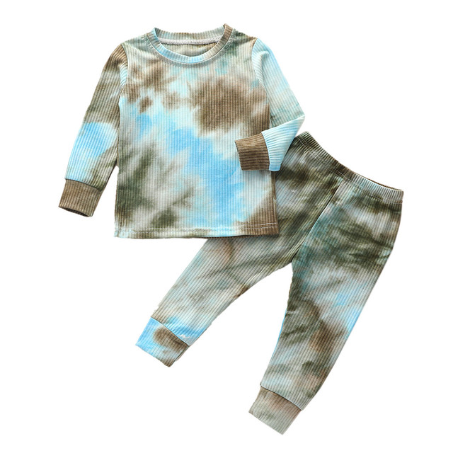Toddler Baby Girls Tie-Dyed Long Sleeve Tops+Pants Pajamas Sleepwear Outfits Set