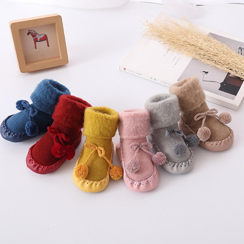 Baby Boys Girls Socks Winter Cotton Baby Leg Plus Thicken Velvet Warmers Socks Infant Anti-Slip Toddler Soft Soles Floor Socks