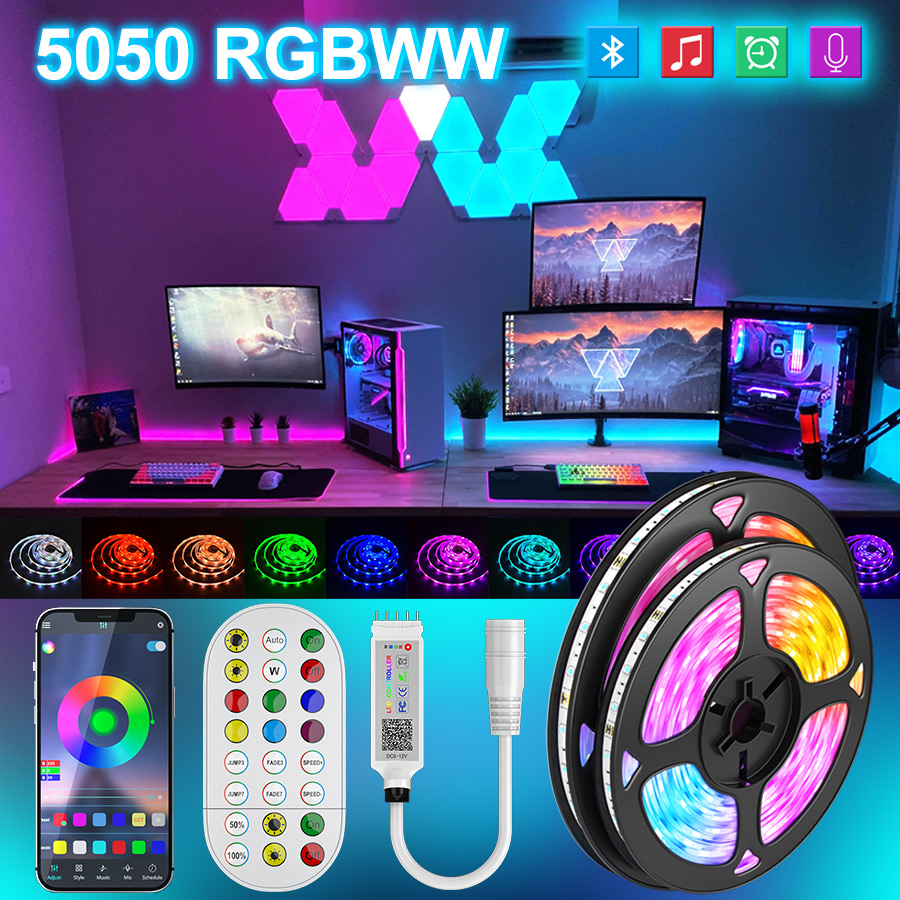 Led strip lights Luces Led 5050 RGBWW Flexible Ribbon RGB Led lights Tape Diode 5M 10M Waterproof Remote Control With Adapter