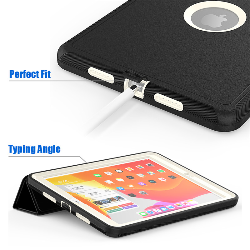 iPad Full-Protection-Case for Shockproof Hard-Cover Kids PU 7-7th-Generation Safe Apple
