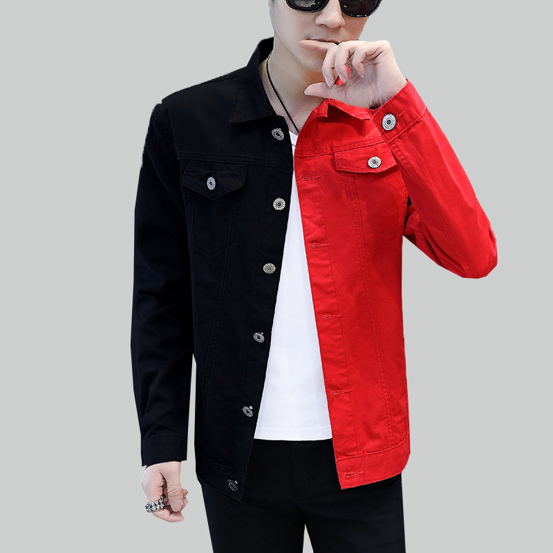 New Casual Slim Motorcycle Denim Jacket Mens 2019 Spring Autumn Black Red Jeans Jacket Homme Streetwear Cowboy Outerwear Man 819