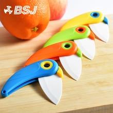 Pare Peel Fold blade Mini Vegetable Kitchen Cutter Peeler Pocket Knife Bird Picnic Lunch Cut Slice Fruit Cutlery Ceramic bag box