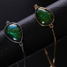 NJ Blue Green Glitter Stone Design Women Charm Bracelets Silver Gold Adjustable Colorful Chain Link Zircon Jewelry