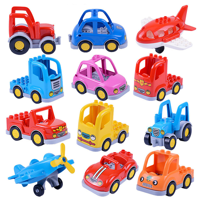 City Cartoon Car Trailer Truck Tractor Airplane Model Building Block Big Size City Educational Toys For Children Kids Xmas