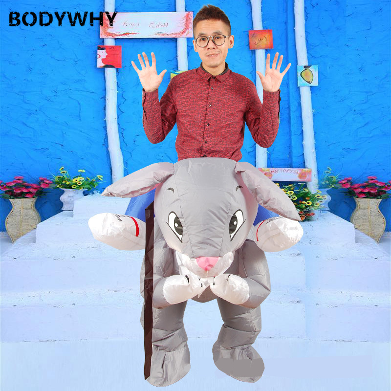 Grey Rabbit Inflatable Ride on Mascot Costume Cosplay Party Game Dress Outfits Promotion Carnival Halloween Xmas Easter Adults