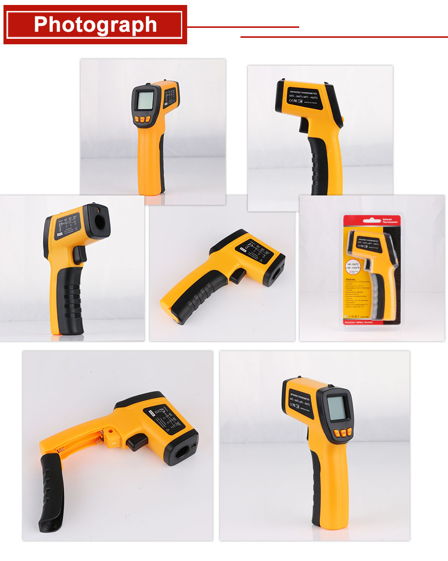 H9357daa92540436d8a6c4894b3e15235h RZ IR Infrared Thermometer Thermal Imager Handheld Digital Electronic Outdoor Non-Contact Laser Pyrometer Point Gun Thermometer