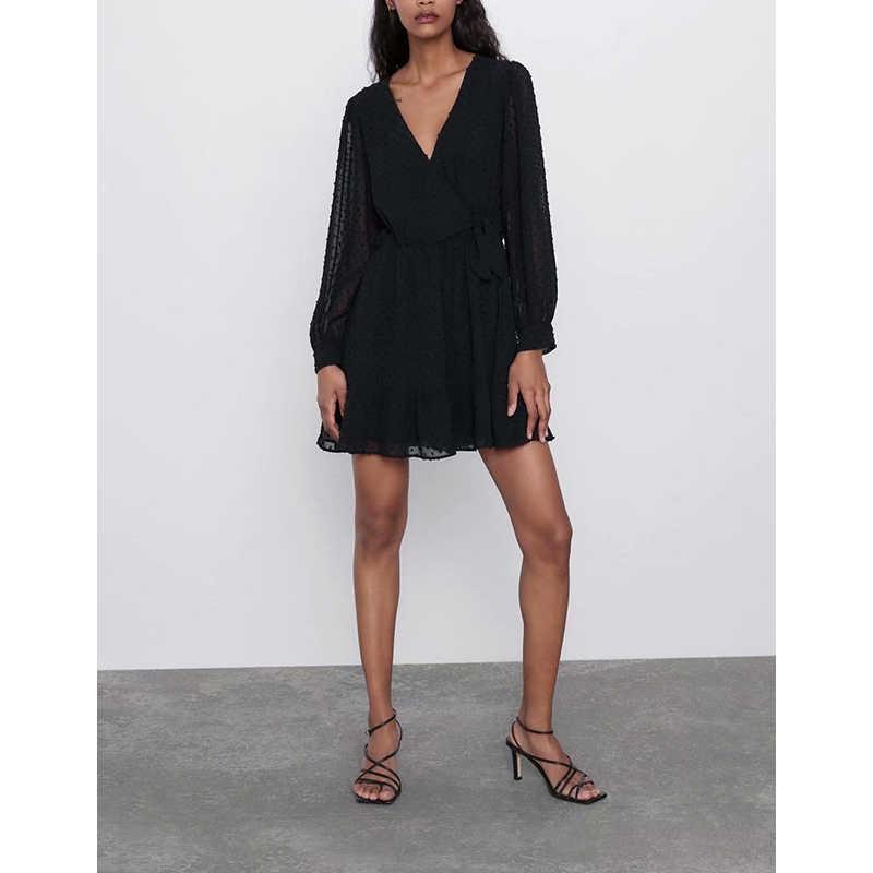 Vestito Nero Classico Alla Moda di Alta Moda Tessuto di Maglia di Stile Del Manicotto Lungo Elegante scollo a V Abiti 2019 Del Partito di Abbigliamento