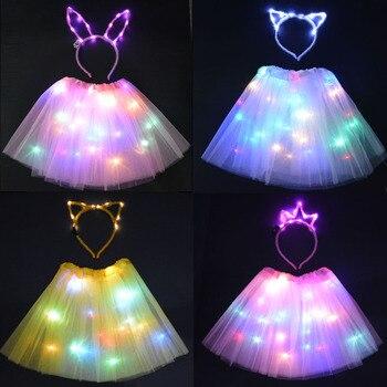 Светодиодный светильник, светящаяся юбка-пачка с кошачьими ушками и кроликами, головная повязка, светящиеся неоновые вечерние, подарок на день рождения, светодиодная одежда, Свадебный декор, костюм