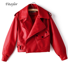 Jacket Outerwear Coat Turndown-Collar Fitaylor Motorcycle Punk Faux-Leather Biker Red