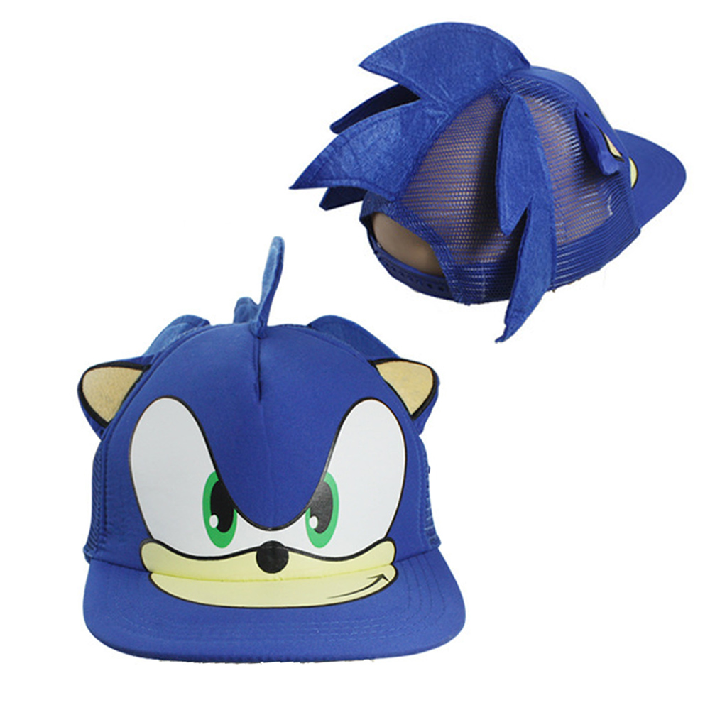 Sonic The Hedgehog Cap Cosplay Cartoon Adjustable Hip Hop Blue Hat Cute Fans Gift Costume Party Props New