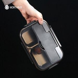 Image 5 - Worthbuy日本子供ランチボックス304ステンレス鋼弁当ランチボックスコンパートメント食器電子レンジ食品容器ボックス