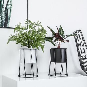 Maceta nórdica creativa para interiores, soporte para flores para decoración del hogar, maceta de Metal de hierro forjado