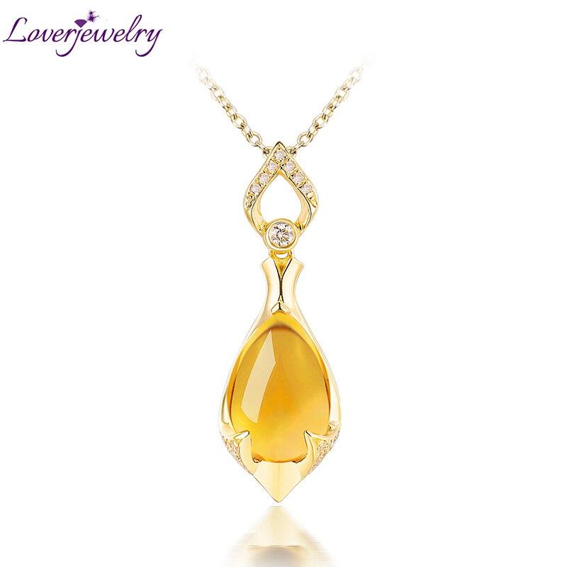 LOVERJEWELRY, кулон в виде капли воды, цитрин, однотонный, 18Kt, желтое золото, слеза, 8x12 мм, натуральный цитрин для женщин, ювелирные украшения для по