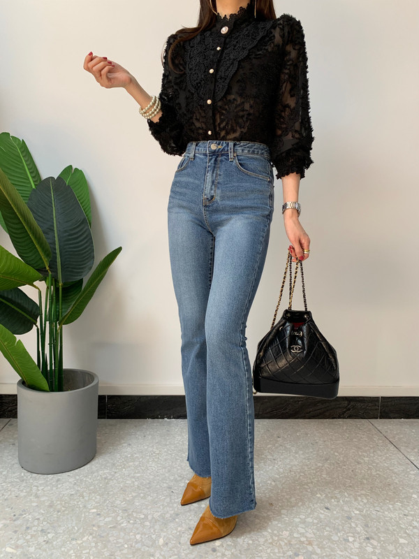 H935859a3f581472497cd234f5974665a4 - Spring / Autumn Korean Stand Collar Long Sleeves Crochet Lace Button Blouse