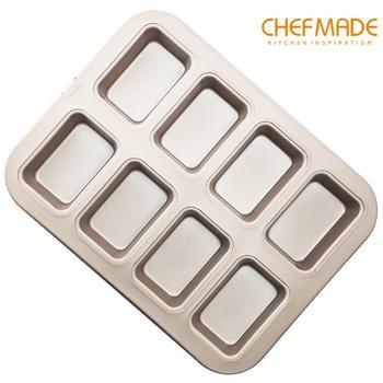 Molde de pastel de brownie CHEFMADE, Pan rectangular antiadherente de 8 cavidades, aprobado por la FDA para hornear en el horno