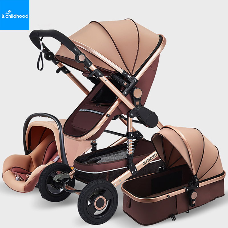 Closeout DealsLuxury Multifunctional 3 in 1Baby Stroller High Landscape Pushchair Baby Carriage Portable Baby Bassinet Free Shipping