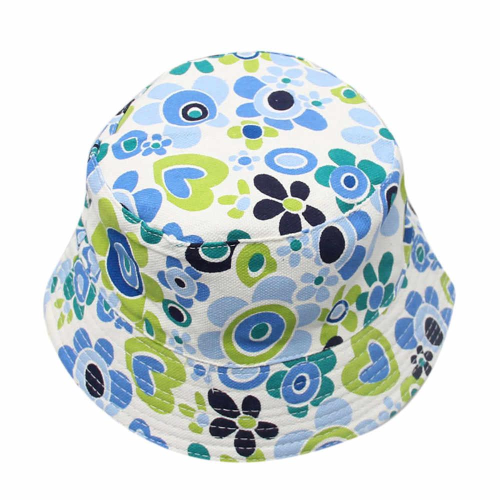 Niño sol casco bebé niños niñas Floral patrón sombreros de cubo cappello pescatore vissershoedje Modis sombrero pescador
