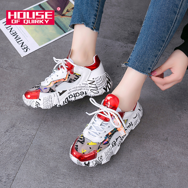 2019 Spring Female Thick Bottom Sneakers Mixed Colors Round Toe Platform Shoes Women Flats Casual Shoes Ladies Running Shoes
