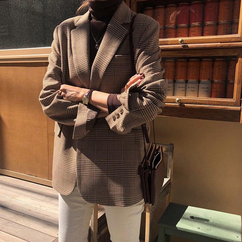 Autumn Korean Style Women Plaid Blazer Vintage Lattice Female Suit Jacket Single Breated Leisure Loose Streetwear Ladies Coat