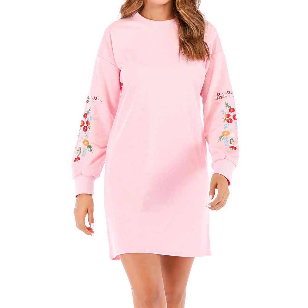 Noel elbise sonbahar kış O boyun uzun kollu kazak elbise bayanlar Casual gevşek nakış elbise vestido navidad mujer 9.12