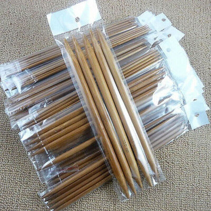 75Pcs Bamboo Double Pointed Knitting Needles Durable for Sock Sweater Scarf HY99