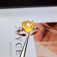 Natural real citrine Ring 925 sterling silver Fine yellow crystal jewelry Handworked jewelry Gem Size 10*10mm