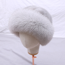 Women's Fahion Genuine Mink Fur Full Pelt Beanies Top Hat Real Fox Fur Brim Lady Fur Cap Solid Winter Russian Warm Hat Luxury