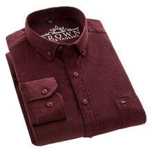 Aoliwen marka % 100% pamuklu kadife gömlek erkekler rahat gömlek yumuşak eğlence düz renk fit uzun kollu erkek gömleği büyük boy elbise