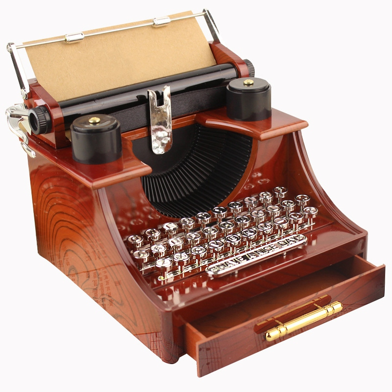 Home Retro Vintage Typewriter Music Box For Home Room Office Mechanical Decoration Kids Retro Music Box Christmas Gift
