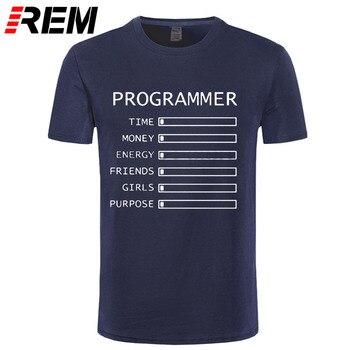 Computer Programmer Time Money Geek Nerd Funny T Shirt Men Short Sleeve Cotton Casual T-shirts