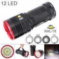 Waterproof Power Display 7500 Lumens 12 x XML T6 LED Flashlight Spotlight Lamp Torch with 4 Modes for Outdoor Hunting/Camping