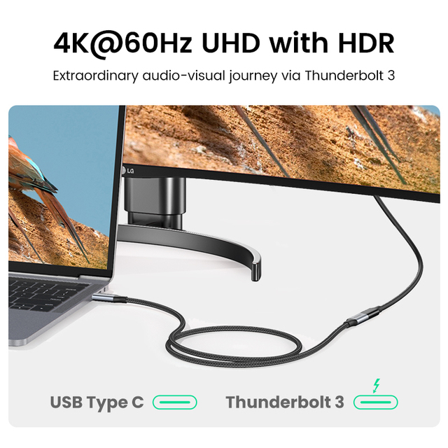 Ugreen USB C Extension Cable Type C Extender Cord USB-C Thunderbolt 3 for Xiaomi Nintendo Switch USB 3.1 USB Extension Cable 5