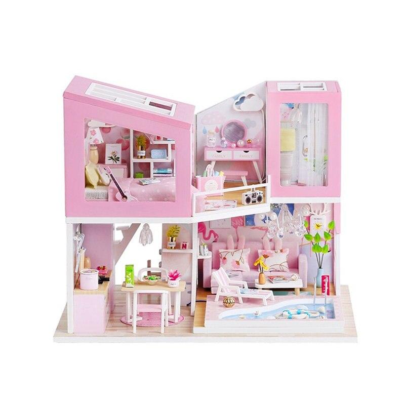 Grande maison de poupée meubles en bois villa maison de poupée cuisine bricolage grandes maisons de poupée miniature maison de poupée kit maison de poupee enfants cadeau