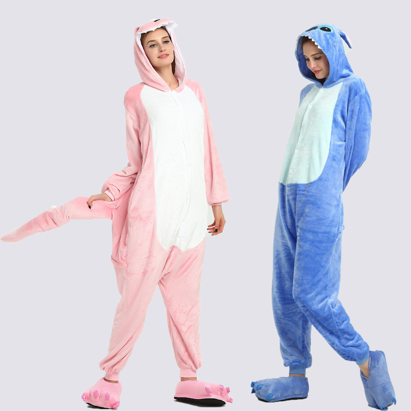 Adults Animal Unicorn Pajamas Set Dinosaur Cartoon Kigurumi Women Men Winter Unisex Flannel Stitch Pajamas Unicornio