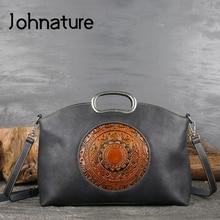 Jhnature النساء حقيبة يد فاخرة جلد طبيعي حقائب ريترو اليدوية الطوطم جلد البقر الإناث حقيبة حقائب كتف سعة كبيرة