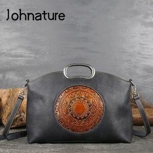 Image 1 - Johnature女性高級ハンドバッグ本革トートバッグレトロ手作りトーテム牛革女性のバッグ大容量ショルダーバッグ