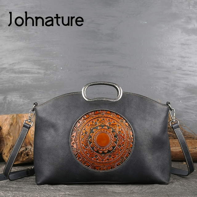 Johnature女性高級ハンドバッグ本革トートバッグレトロ手作りトーテム牛革女性のバッグ大容量ショルダーバッグ