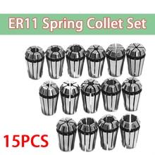 """15Pcs/Set 1 7mm ER11 Milling Chuck +1 1/4"""" ER11 Milling Chuck Spring Collet Set For CNC Engraving Machine & Milling Lathe Tool"""