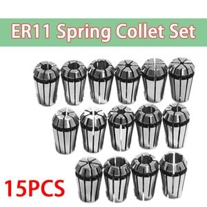 """Image 1 - 15Pcs/Set 1 7mm ER11 Milling Chuck +1 1/4"""" ER11 Milling Chuck Spring Collet Set For CNC Engraving Machine & Milling Lathe Tool"""